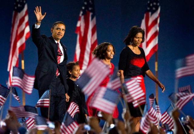 Barack Obama wins the 2008 election, becoming the first African American President.