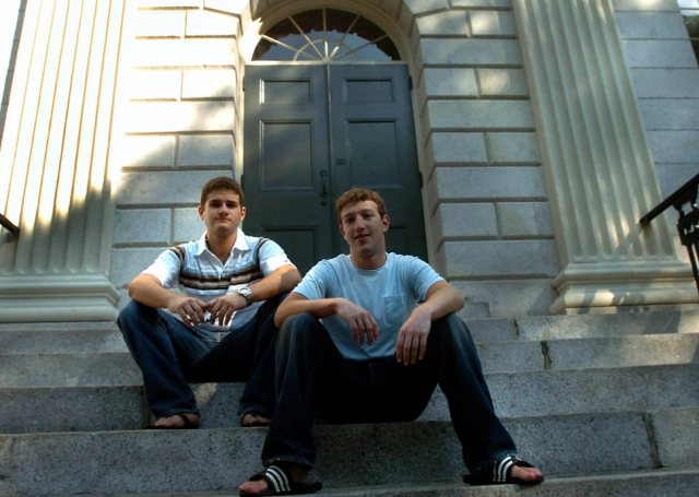 Mark Zuckerberg and Dustin Moscovitz in 2004, after they had just lauched FaceBook.